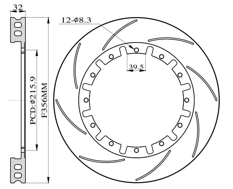 Tarcze hamulcowe nacinane do zestawu Big Brake 356mm 2015+ - GRUBYGARAGE - Sklep Tuningowy